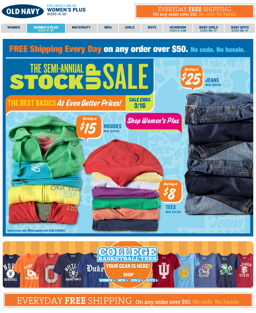 A Superbly Balanced Promotion: Old Navy's Sale + FREE SHIPPING