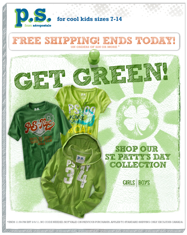 PS: Shipping Ends Today St Patty's Day Collection Email Design