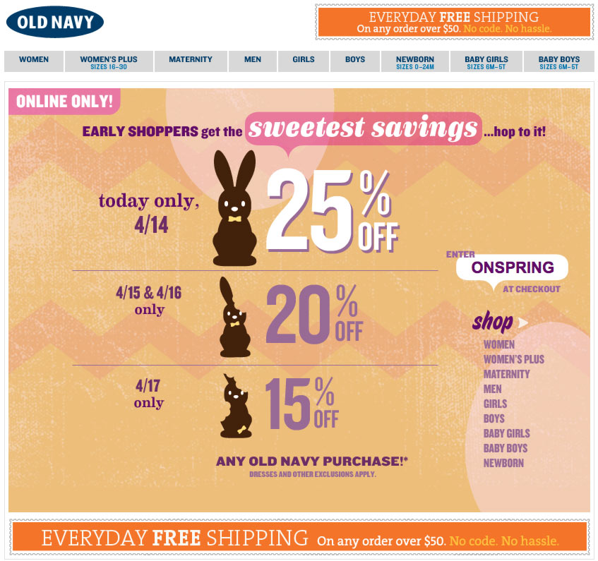 Old Navy Easter Segmented Sale Email Design