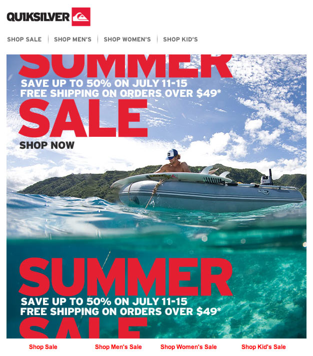 Quicksilver's Summer Sale Email Design