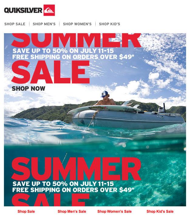 Quicksilver's Summer Sale Email Design