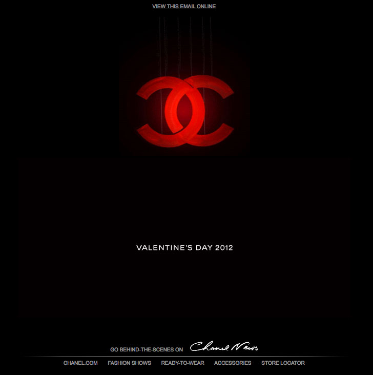 Chanel's Pre Valentine's Day Email Design