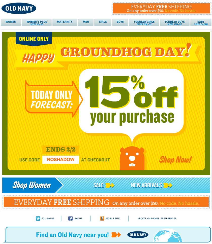 Old Navy's Groundhog Day Email Design