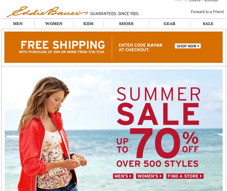 Eddie Bauer Email Design