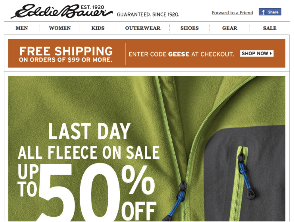 Eddie Bauer Last Day 50% OFF Sale Email Design