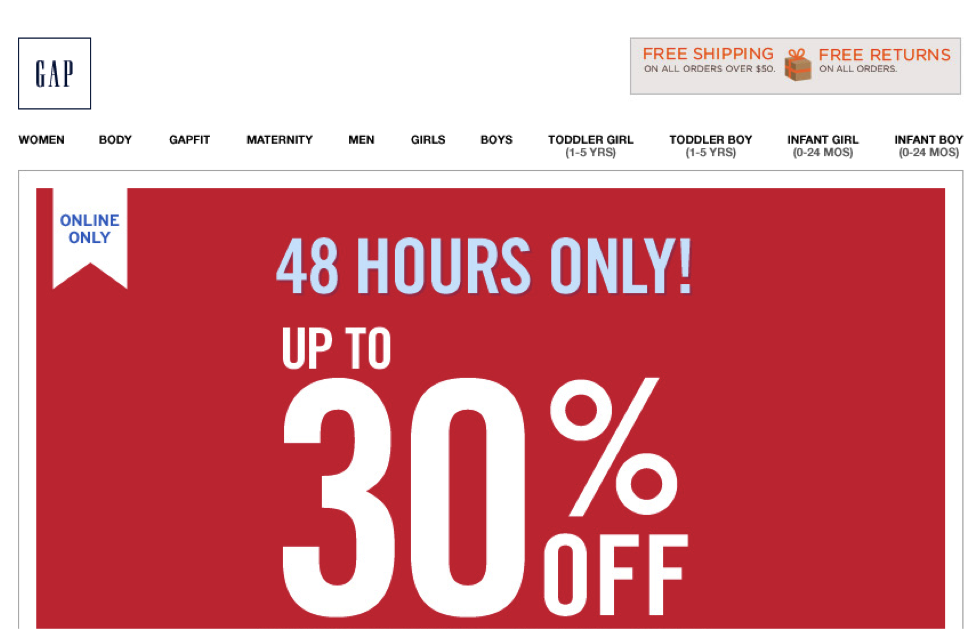 The Gap 48 Hours Only Sale Email Design