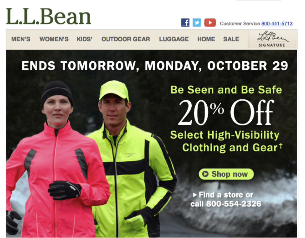 LL Bean Sale Ends Monday Email Design