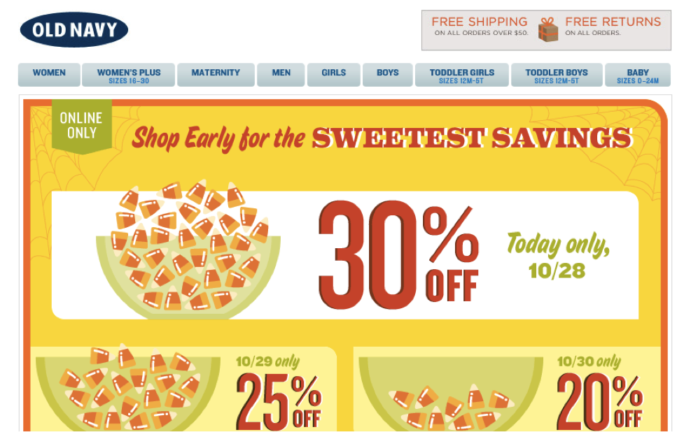 Old Navy Countdown Email Design