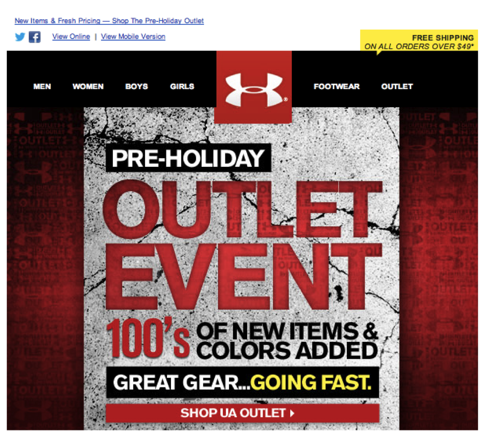 Under Armour Outlet Event Email Design