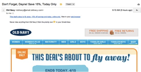 Old Navy Email Design